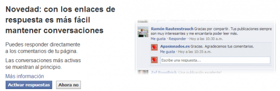 Activar respuestas anidadas en páginas de Facebook