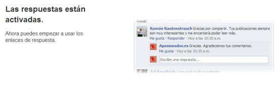 Activación correcta de los comentarios anidados en Facebook