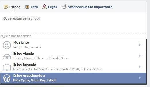 Personalización estados Facebook