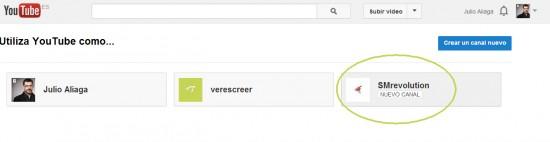 Elegir la página de empresas de Google Plus para canal de youtube